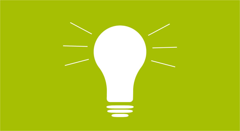 Weisse Grafik einer Glühbirne auf grünem Hintergrund