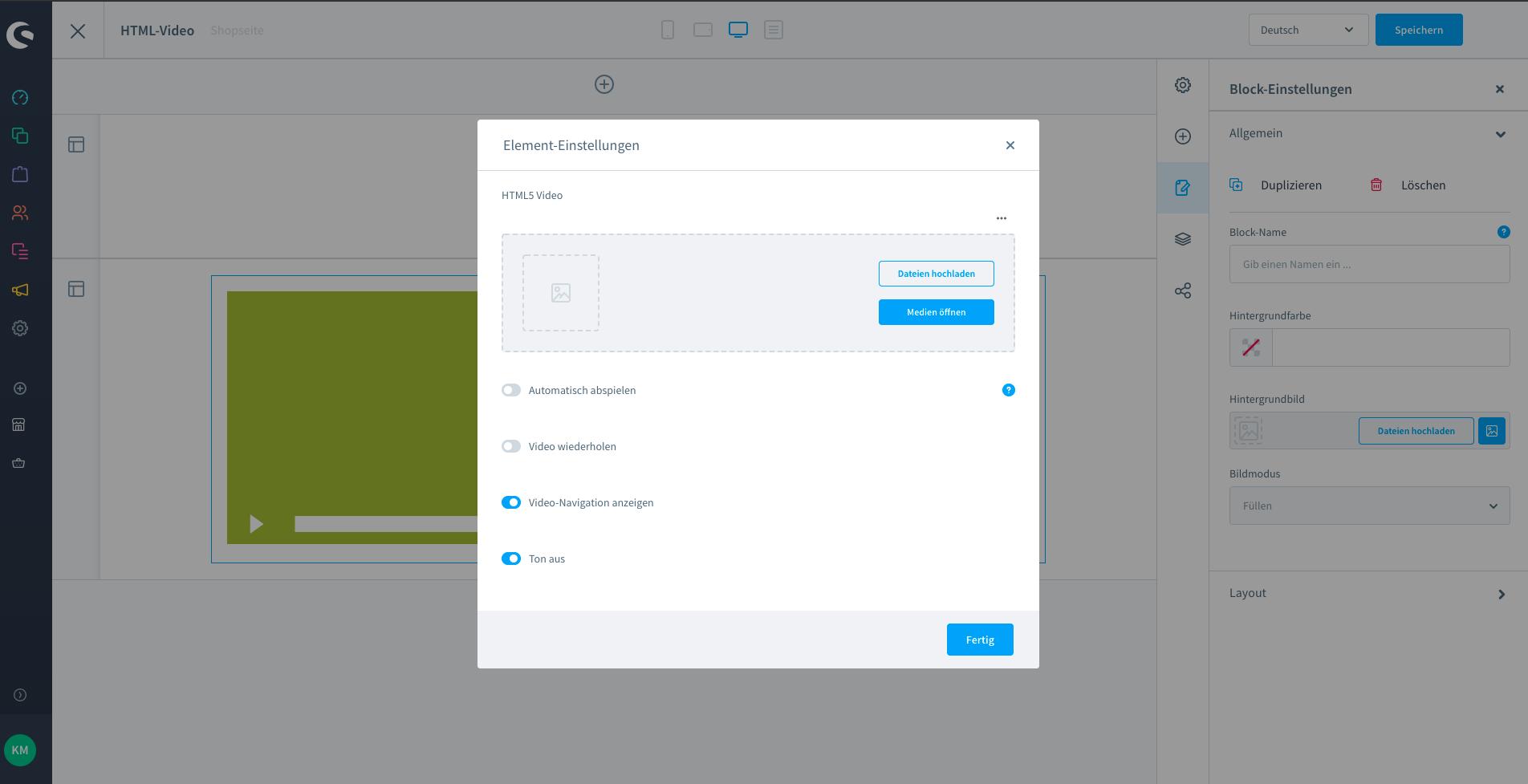 Screenshots der Element-Einstellungen im Shopware-Plugin